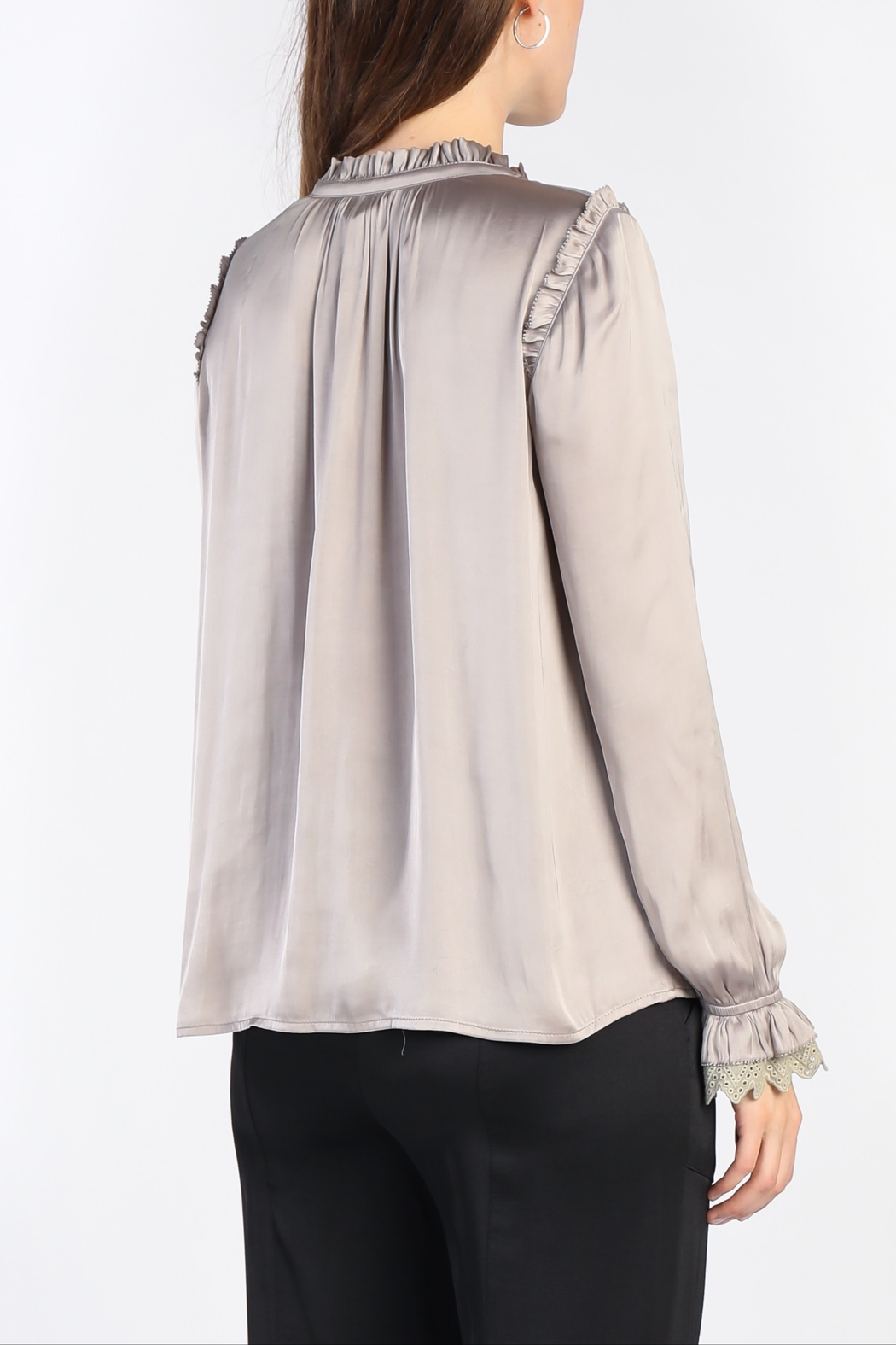 Current Air Ruffled V Tie Neck Lace Trim Blouse - Front Full Image