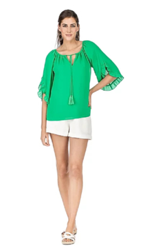 Jade Ruffles Flared Sleeve Top - Alternate List Image