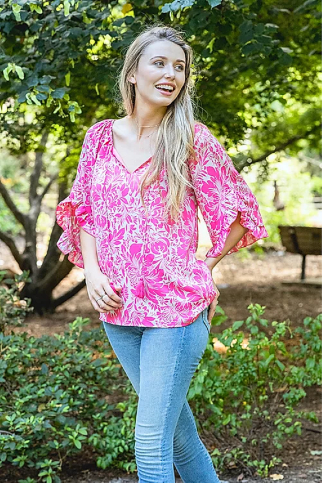 Jade Ruffles Flared Sleeve Top - Front Cropped Image