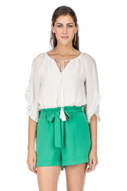 Jade Ruffles Flared Sleeve Top - Front cropped