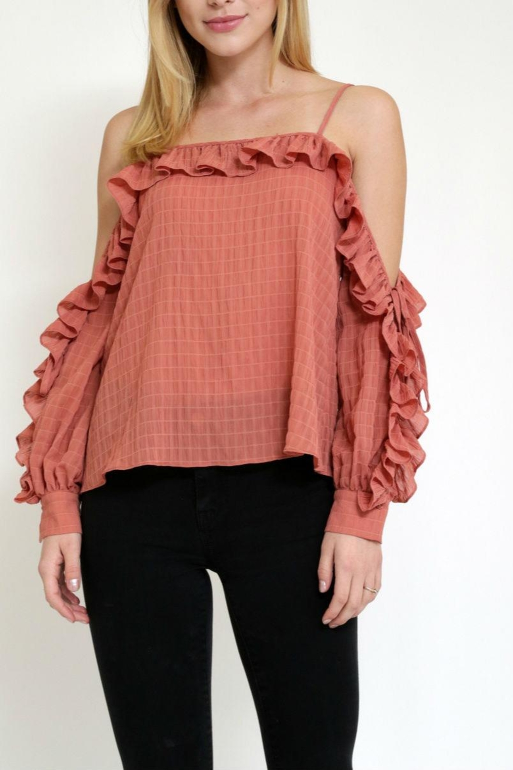 essue Rufflesleeve Coldshoulder Top - Main Image
