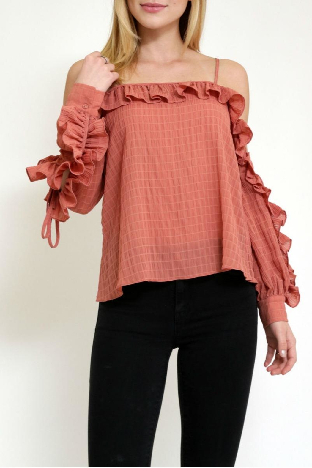 essue Rufflesleeve Coldshoulder Top - Front Full Image