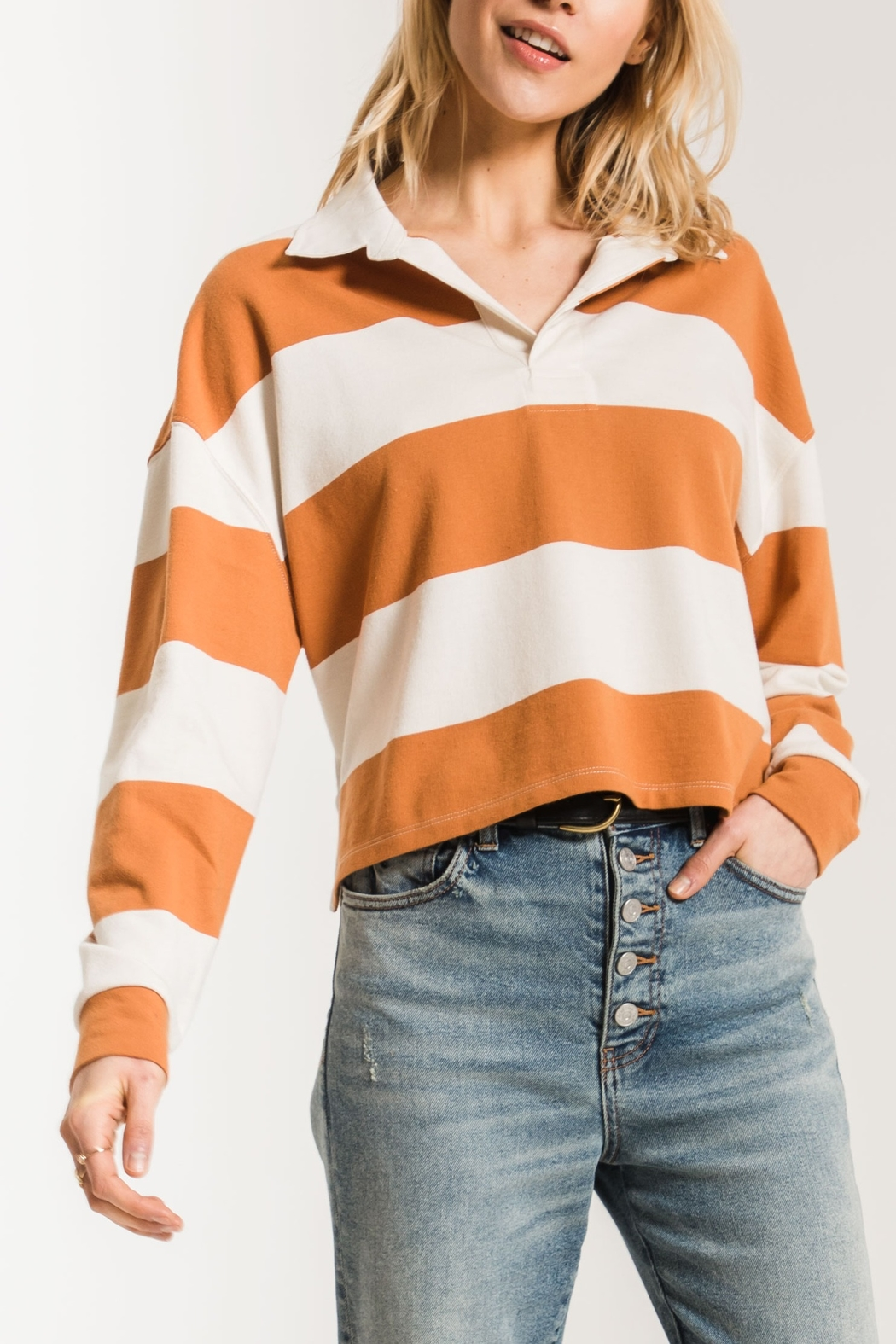 z supply Rugby Striped Collared Shirt - Front Cropped Image