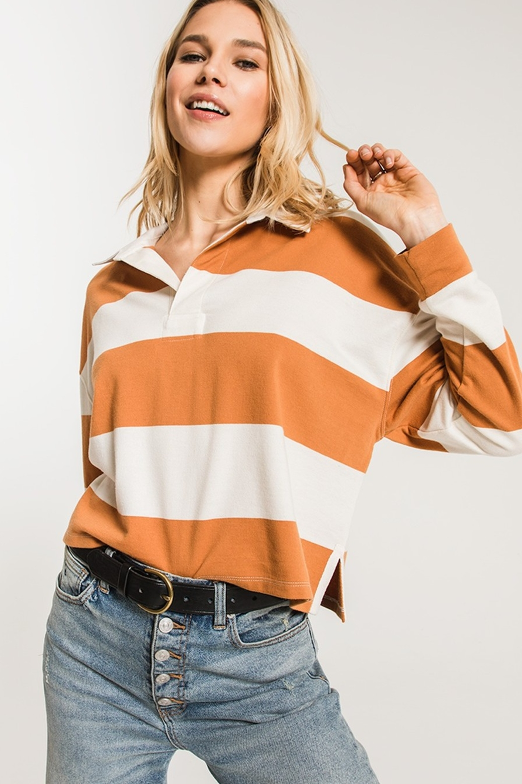 z supply Rugby Striped Collared Shirt - Front Full Image