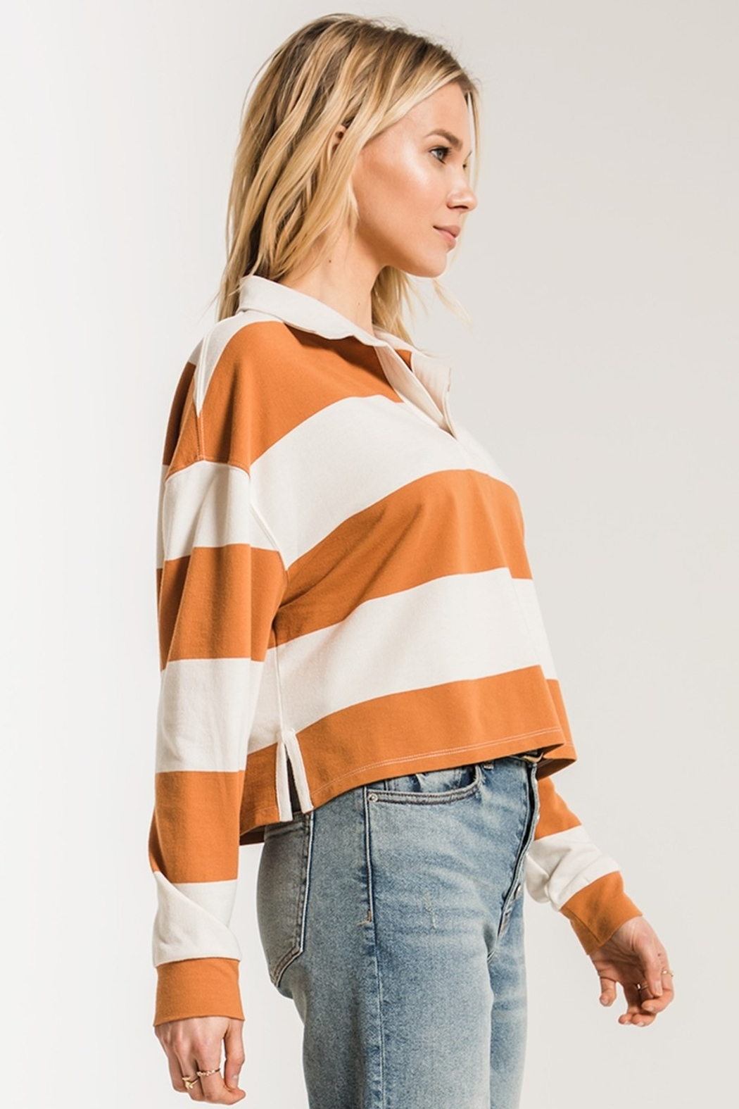 z supply Rugby Striped Collared Shirt - Back Cropped Image
