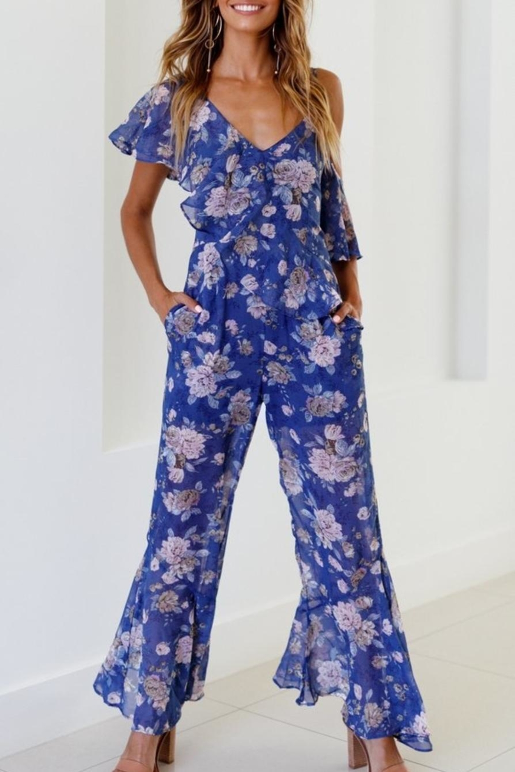 Rumor Blue Moon Jumpsuit - Front Cropped Image