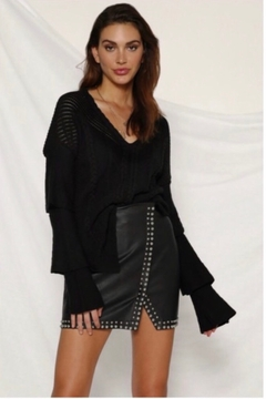 Runaway The Label Angelina Faux Leather Skirt - Black - Product List Image