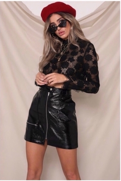 Shoptiques Product: Runaway The Label Panther Faux Leather Skirt - Black