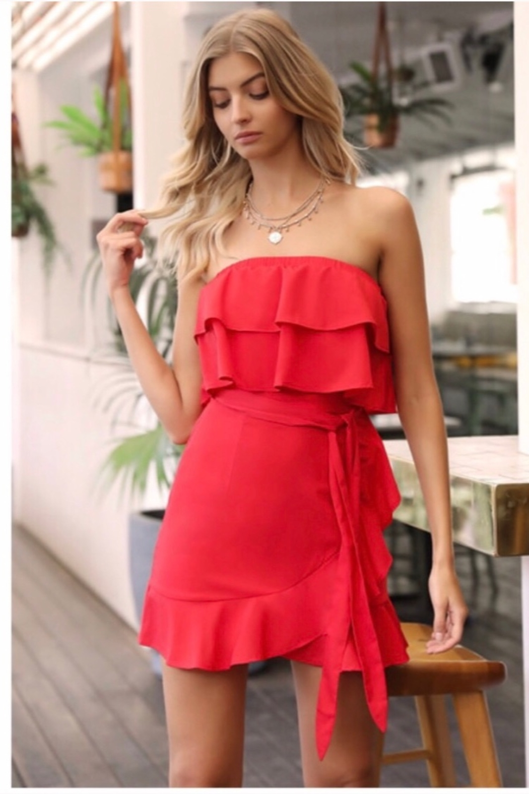 Runaway The Label While Its Hot Strapless  Mini Dress - Red - Main Image