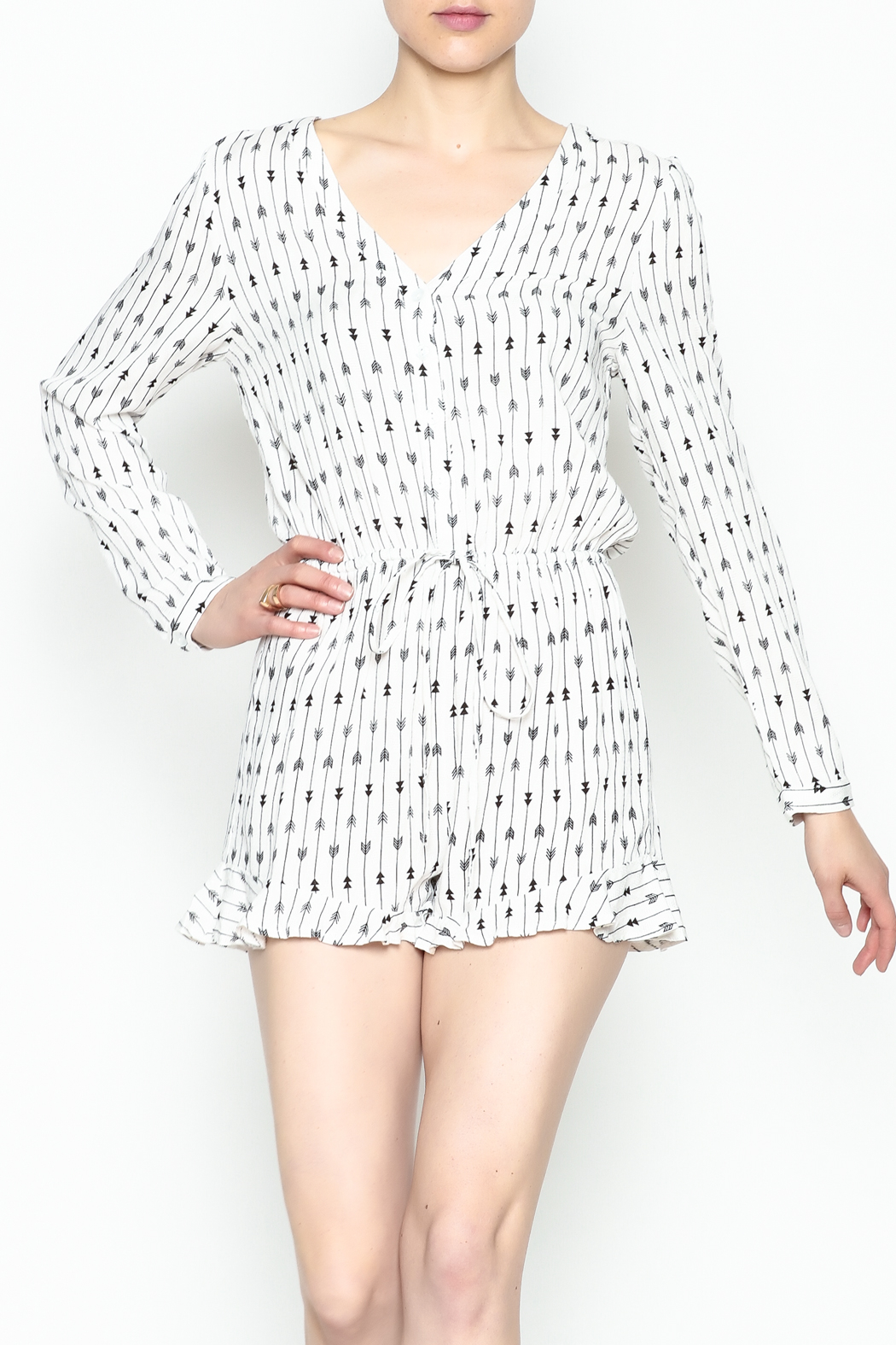 Runway & Rose Arrow Print Romper - Side Cropped Image