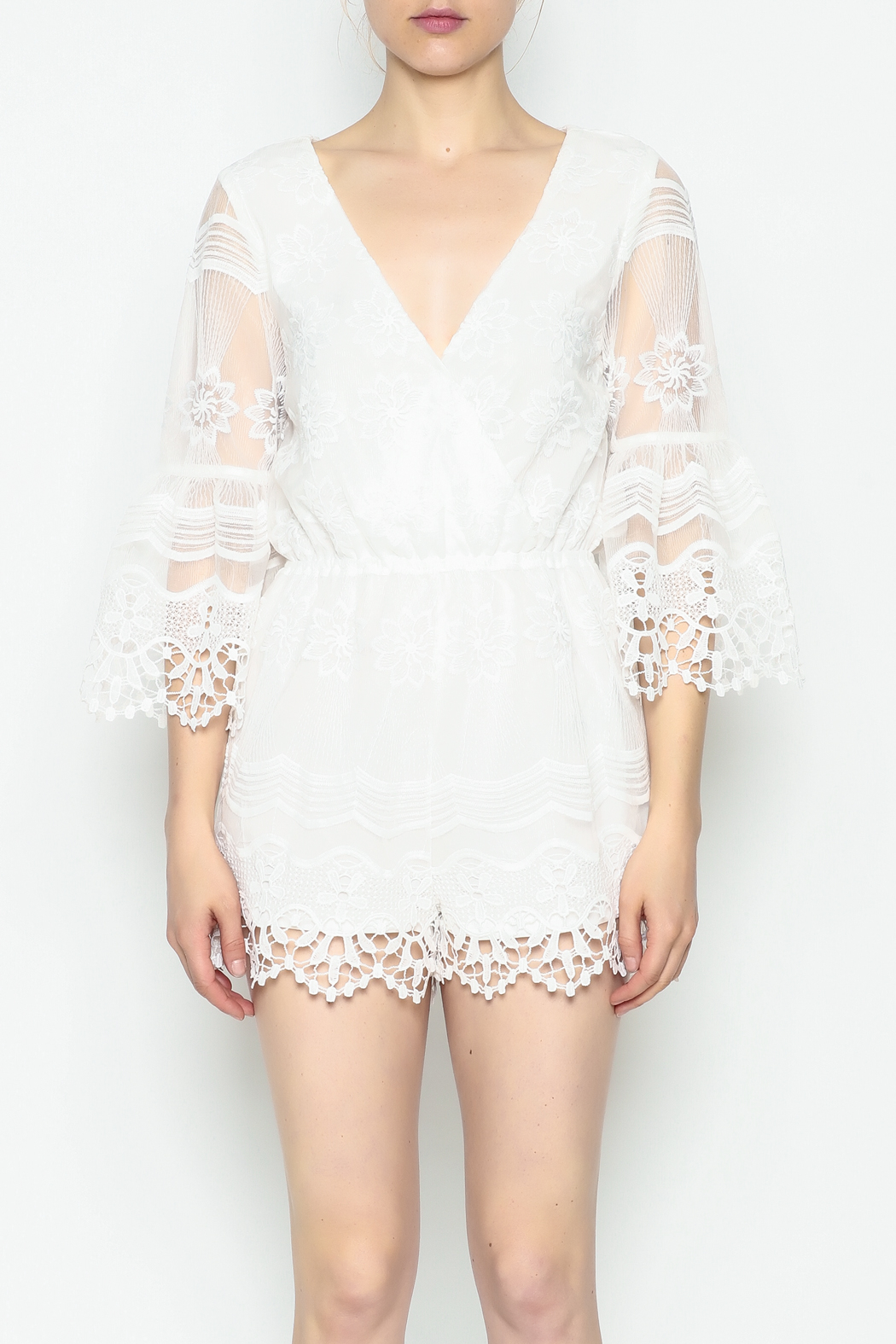 Runway & Rose Floral Embroidered Romper - Front Cropped Image
