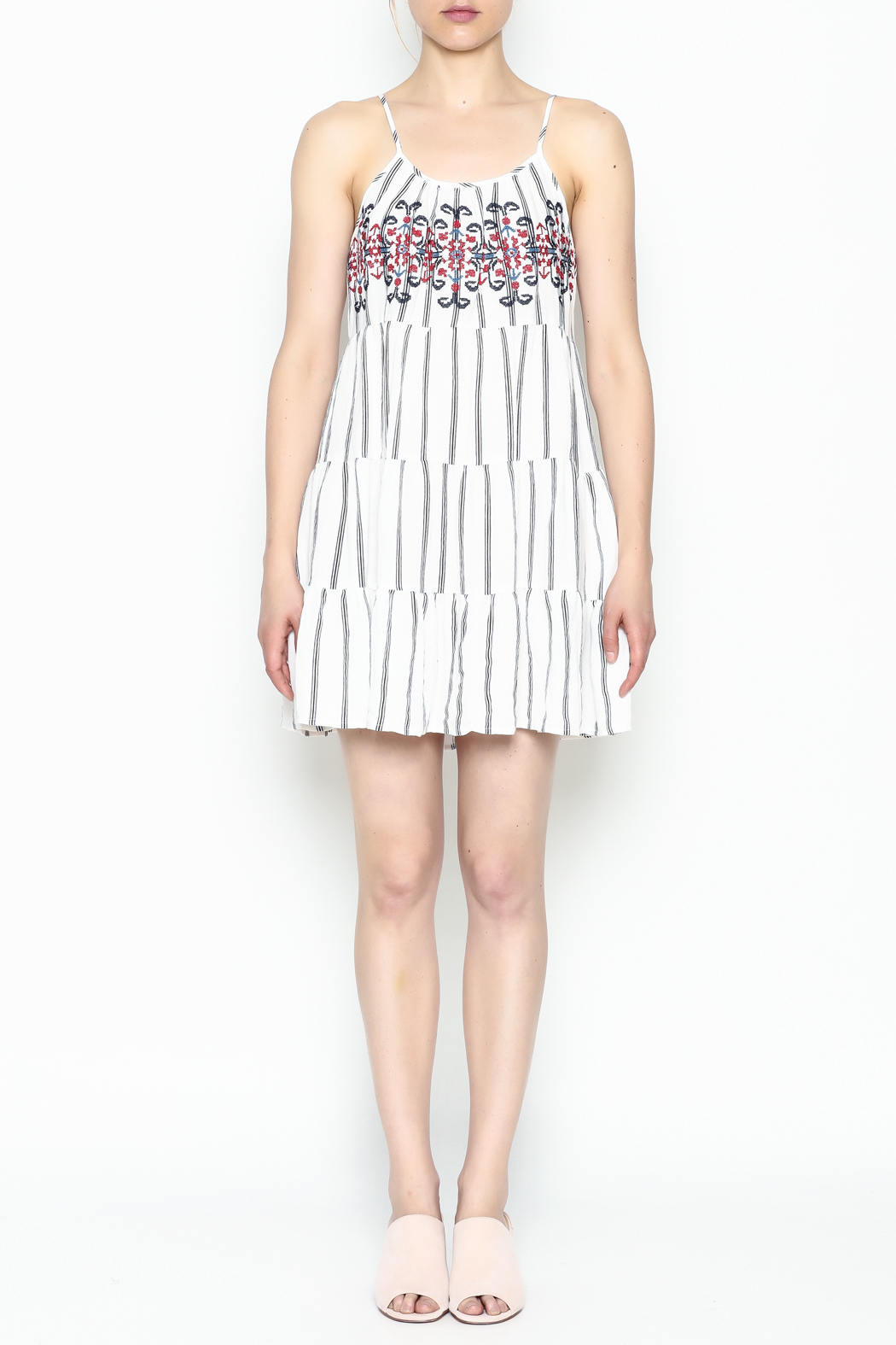 Runway & Rose Striped Embroidered Dress - Front Full Image