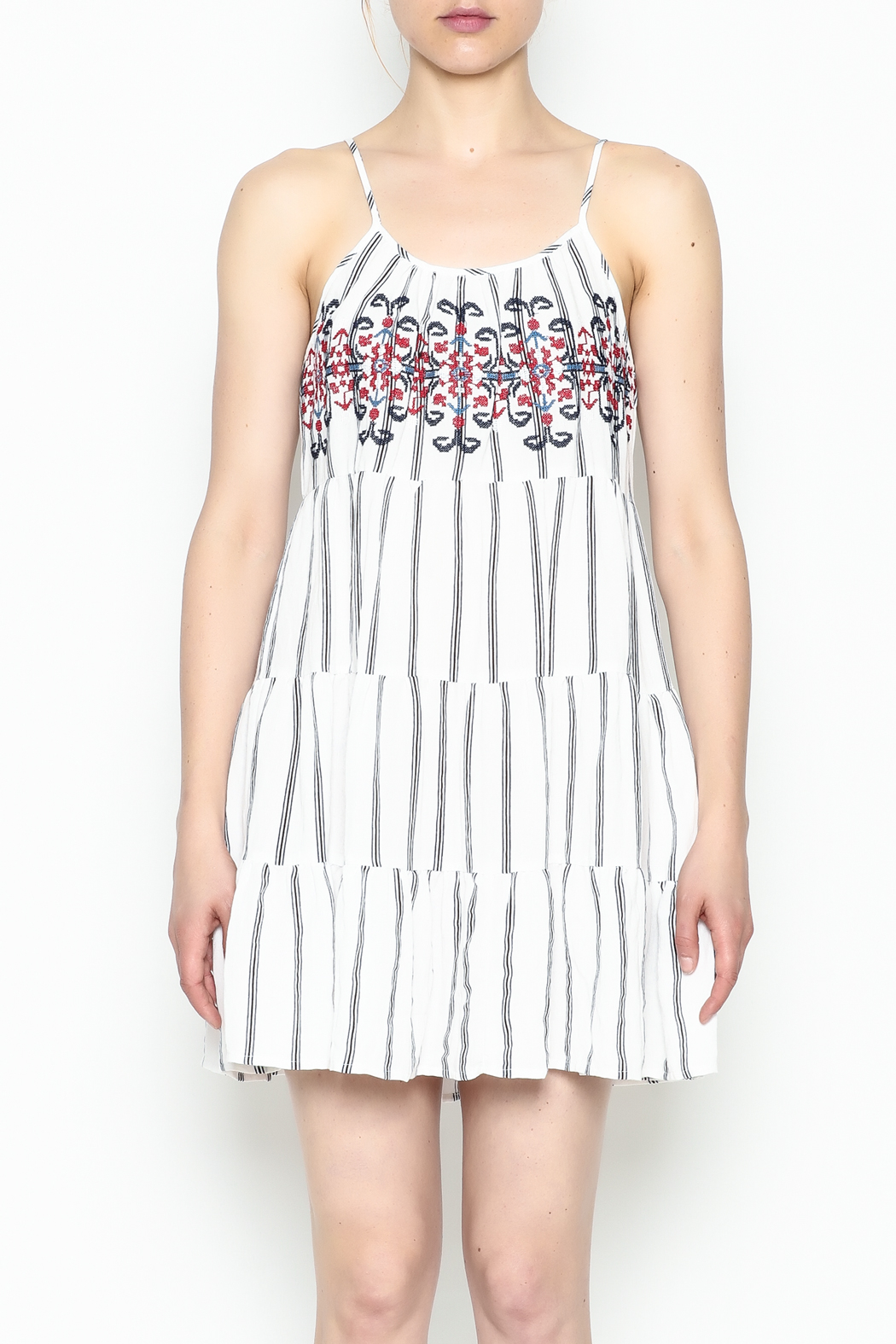 Runway & Rose Striped Embroidered Dress - Front Cropped Image