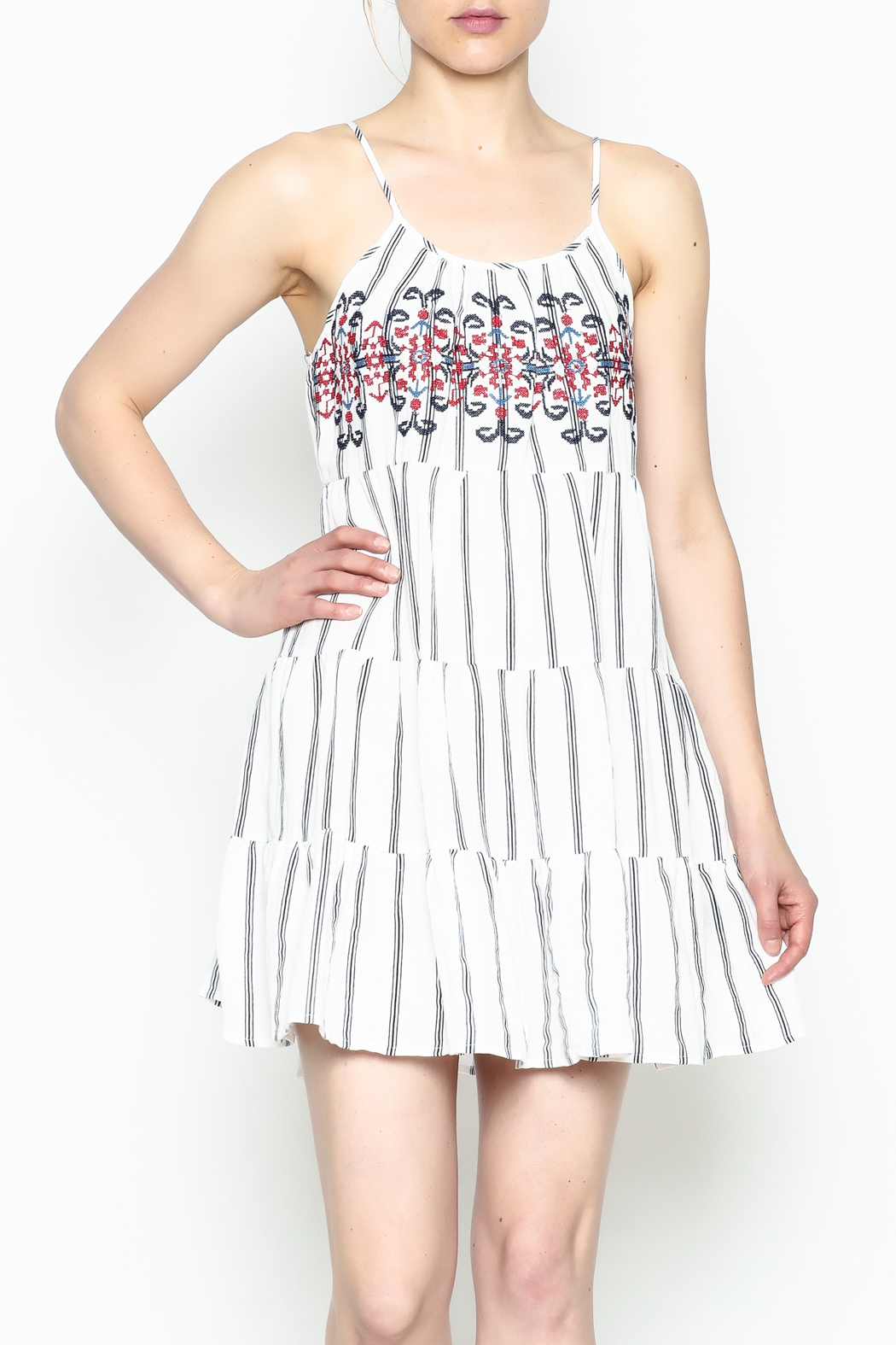 Runway & Rose Striped Embroidered Dress - Side Cropped Image