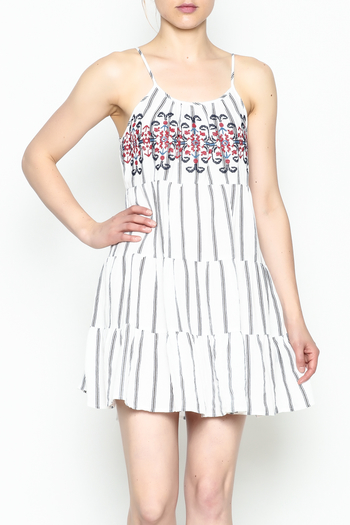 Runway & Rose Striped Embroidered Dress - Main Image