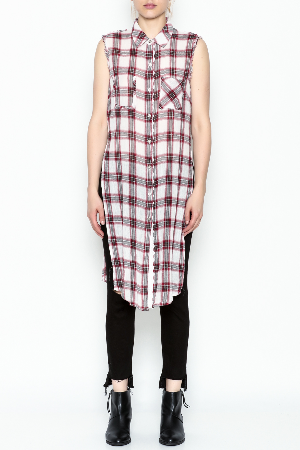 Runway & Rose Tank Flannel Top - Front Full Image