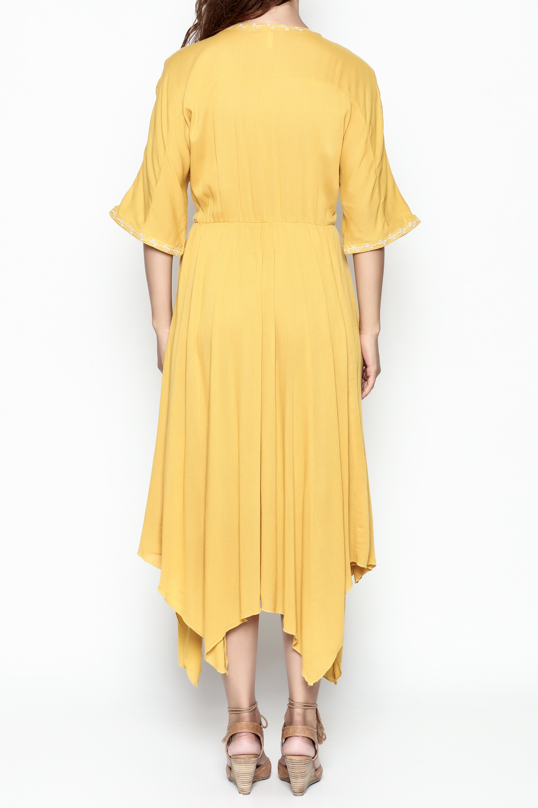 Runway & Rose Yellow Embroidered Dress - Back Cropped Image