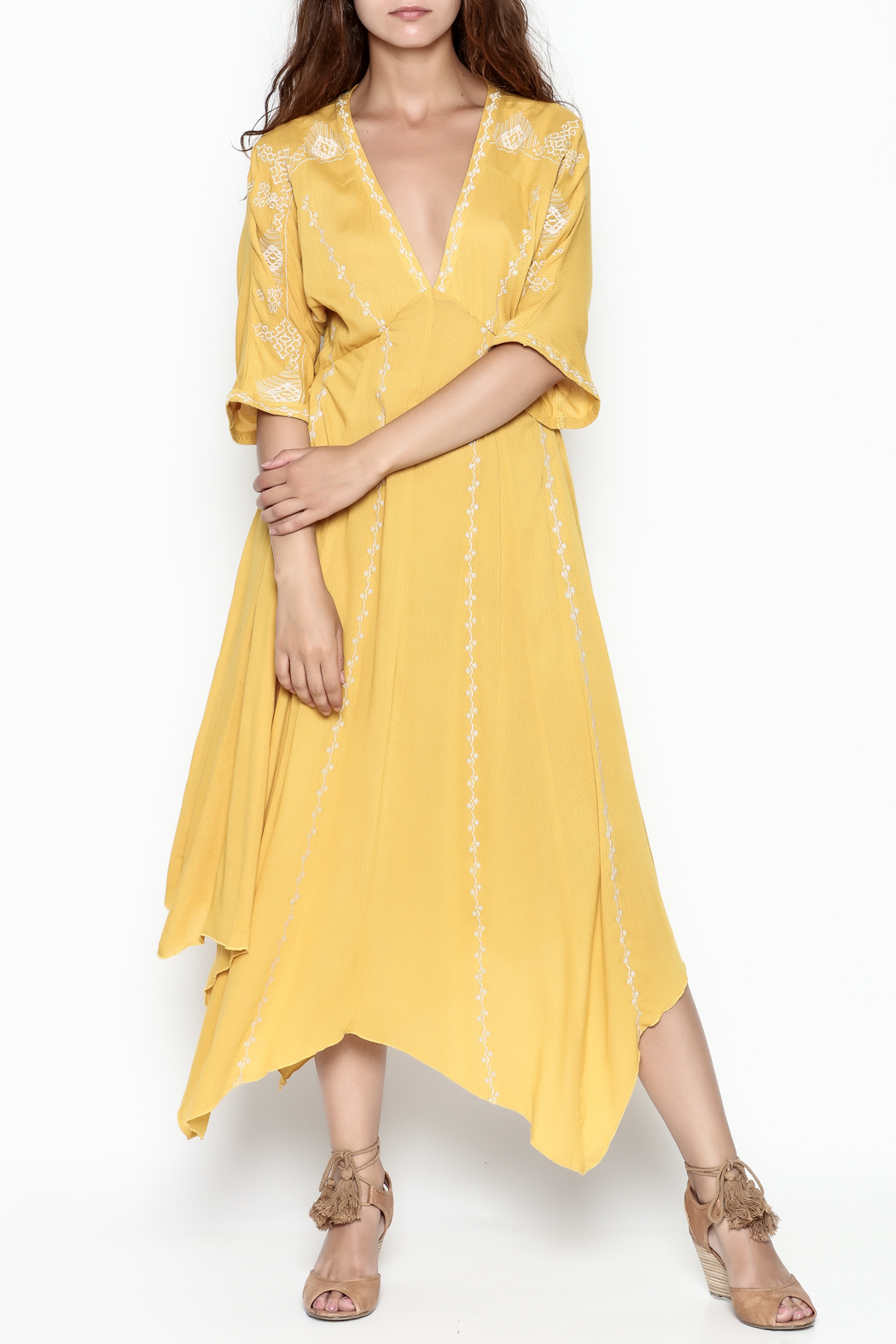 Runway & Rose Yellow Embroidered Dress - Front Cropped Image