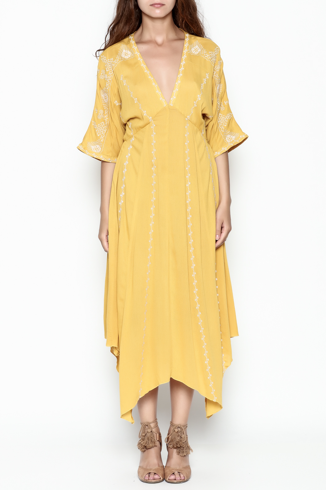 Runway & Rose Yellow Embroidered Dress - Front Full Image