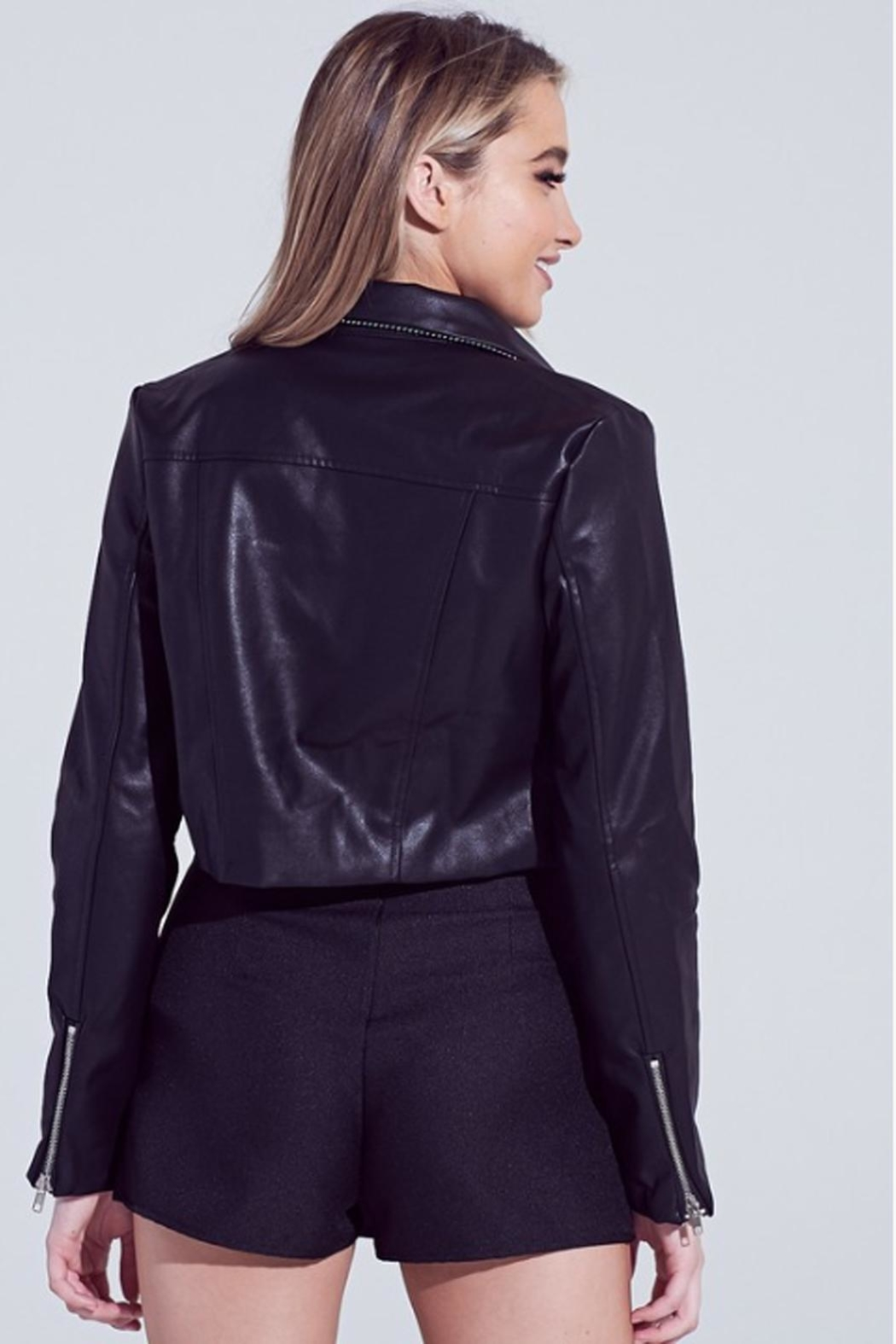 Runway & Rose Faux-Leather Cropped Jacket - Side Cropped Image