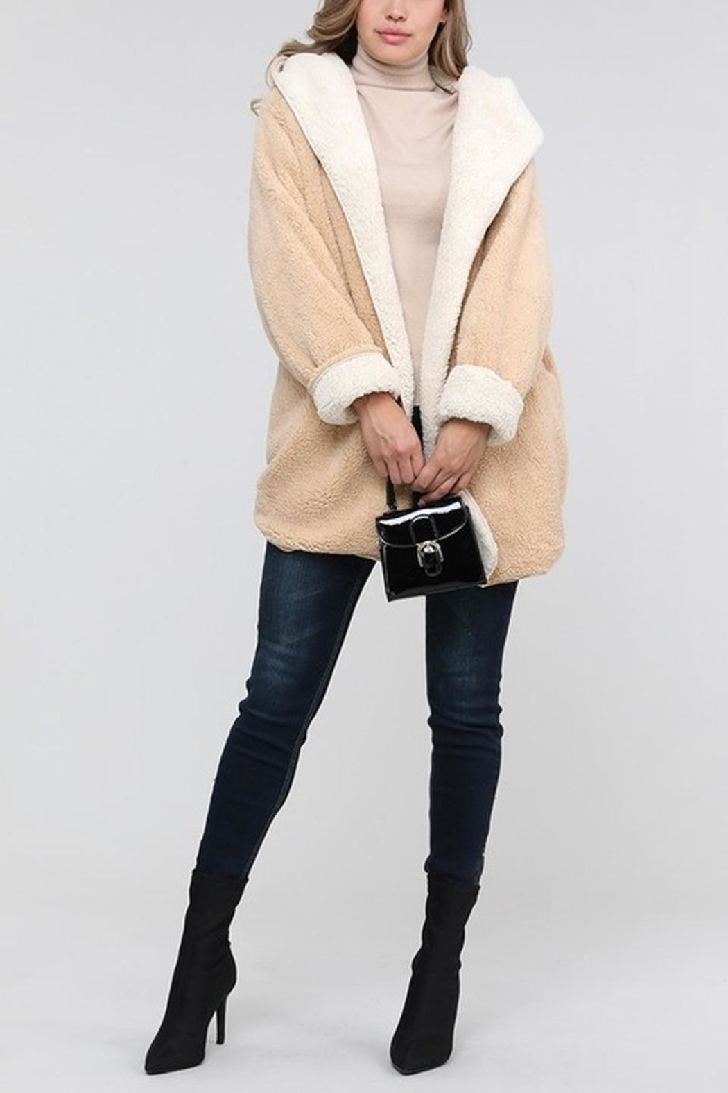 Runway & Rose Reversable Teddy Cardigan - Front Cropped Image