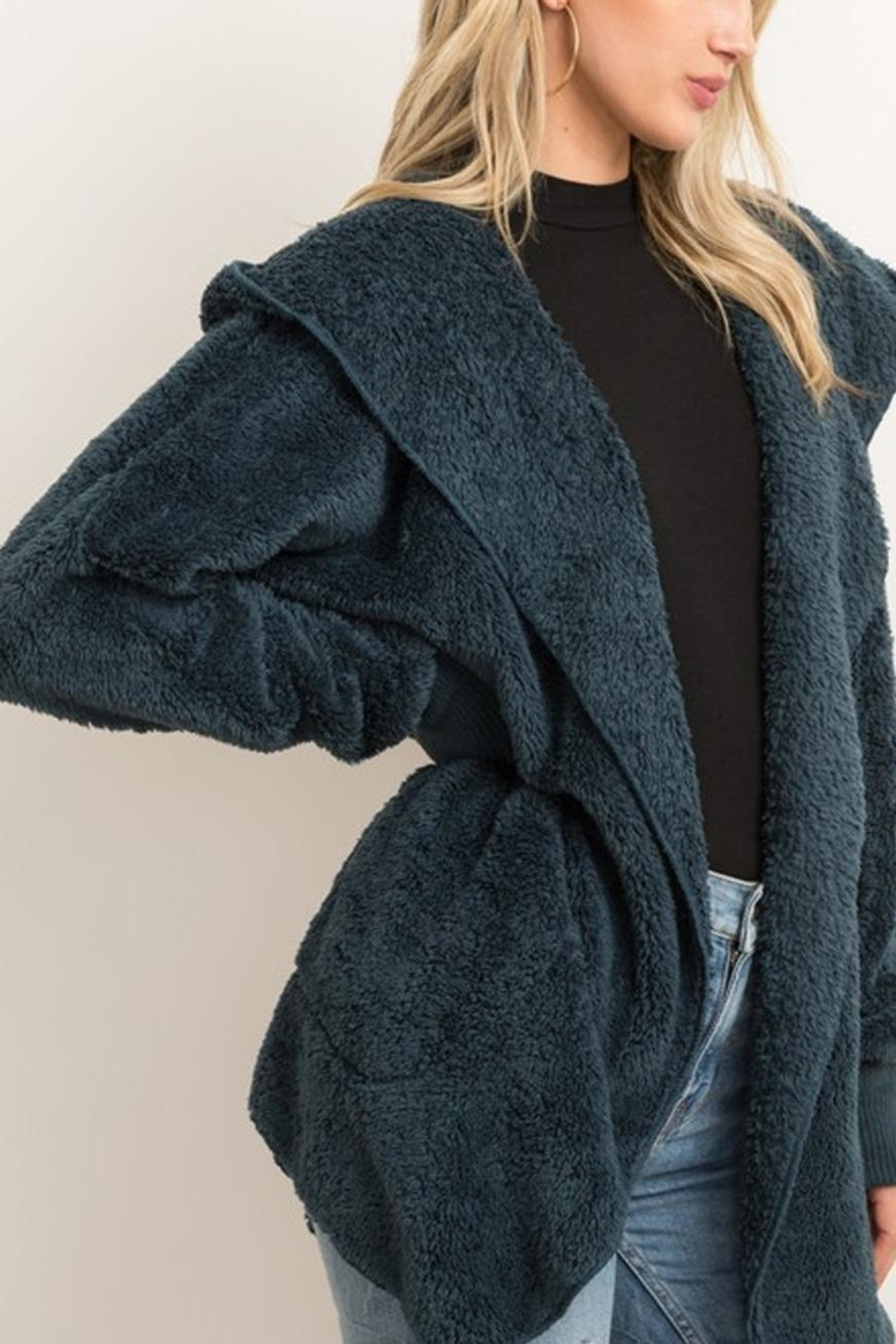 Runway & Rose Teddy Open Cardigan - Front Cropped Image