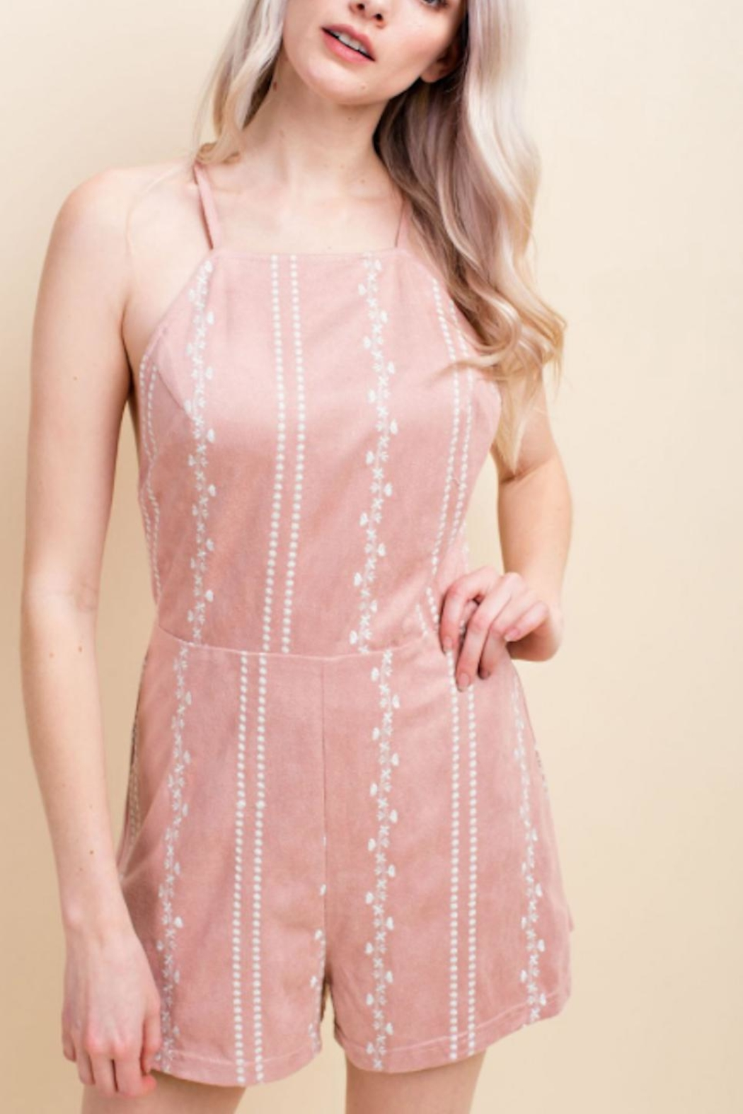 Honey Punch Rush Blush Romper - Front Cropped Image