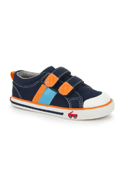 See Kai Run Russell Navy/Orange Sneaker - Front cropped