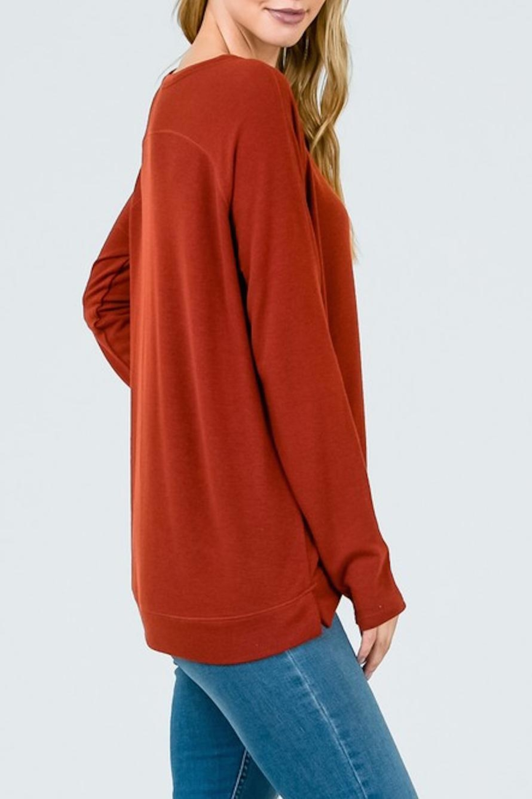 Lumiere Rust Crewneck Top - Side Cropped Image