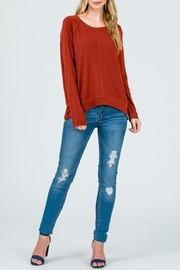 Lumiere Rust Crewneck Top - Back cropped
