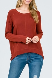 Lumiere Rust Crewneck Top - Front cropped