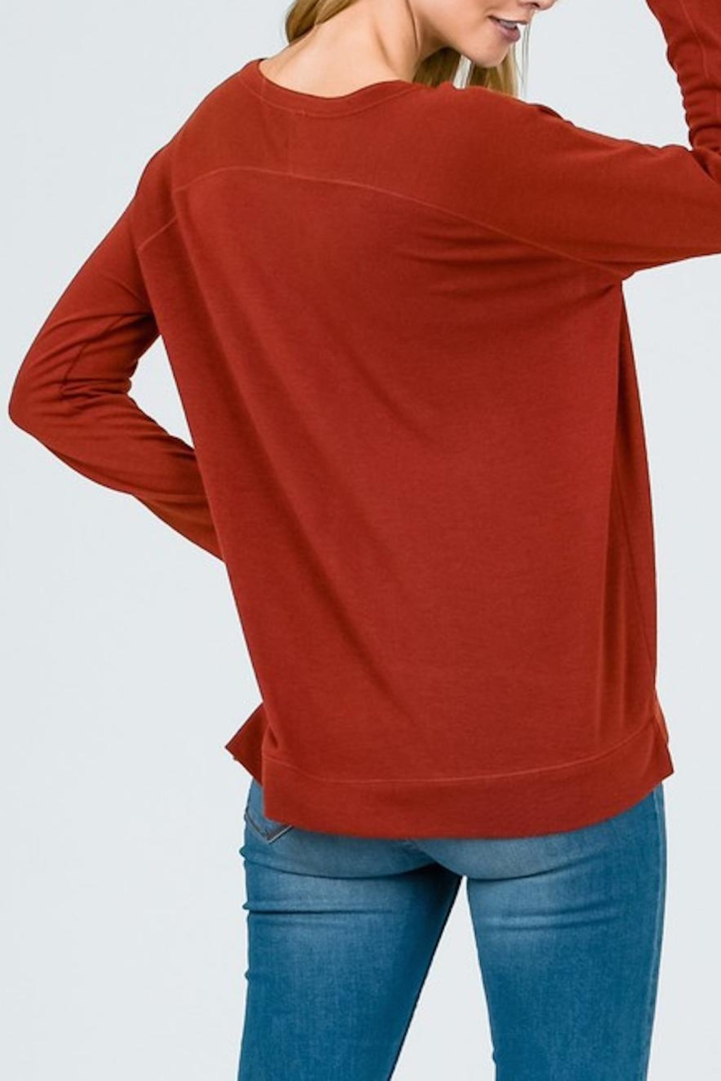 Lumiere Rust Crewneck Top - Front Full Image