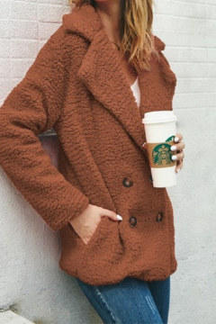 Shoptiques Product: Rust Faux Shearling Double Breasted Jacket - Super Soft!