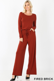 Zenana Outfitters Rust jersey knit full leg jumpsuit with keyhole back tie at neck - Product Mini Image