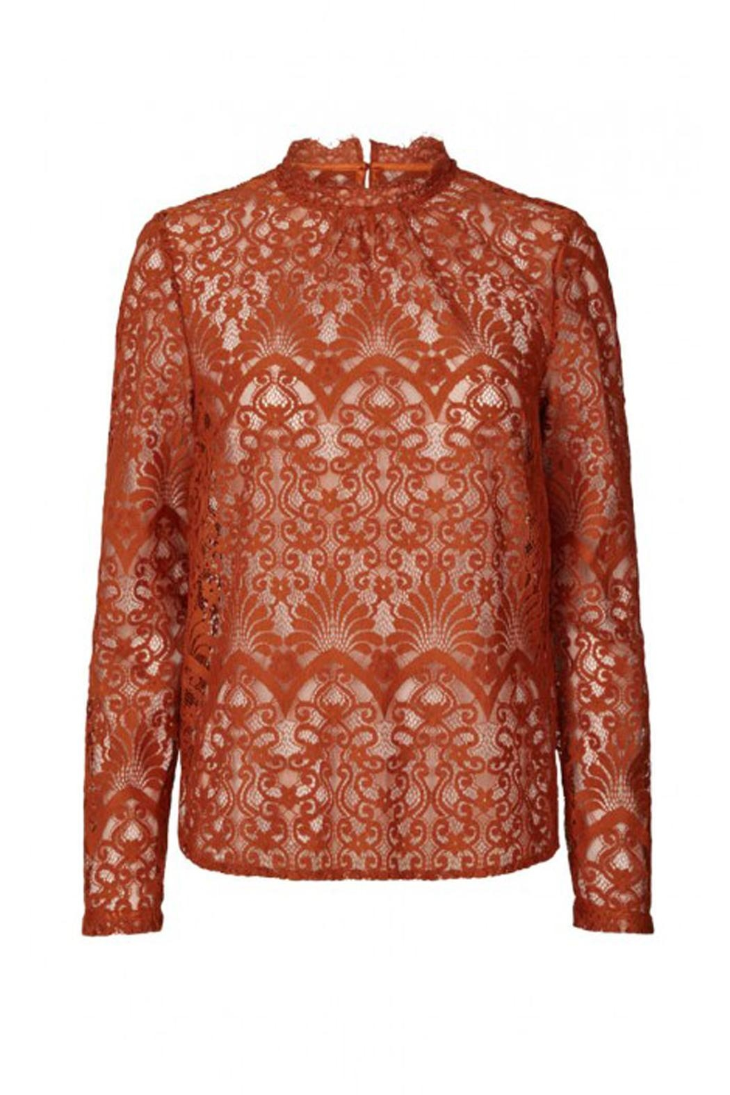 LOLLYS LAUNDRY Rust, Lace Top - Front Cropped Image