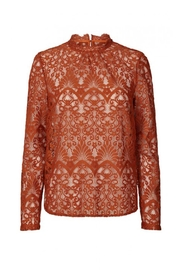 LOLLYS LAUNDRY Rust, Lace Top - Front cropped