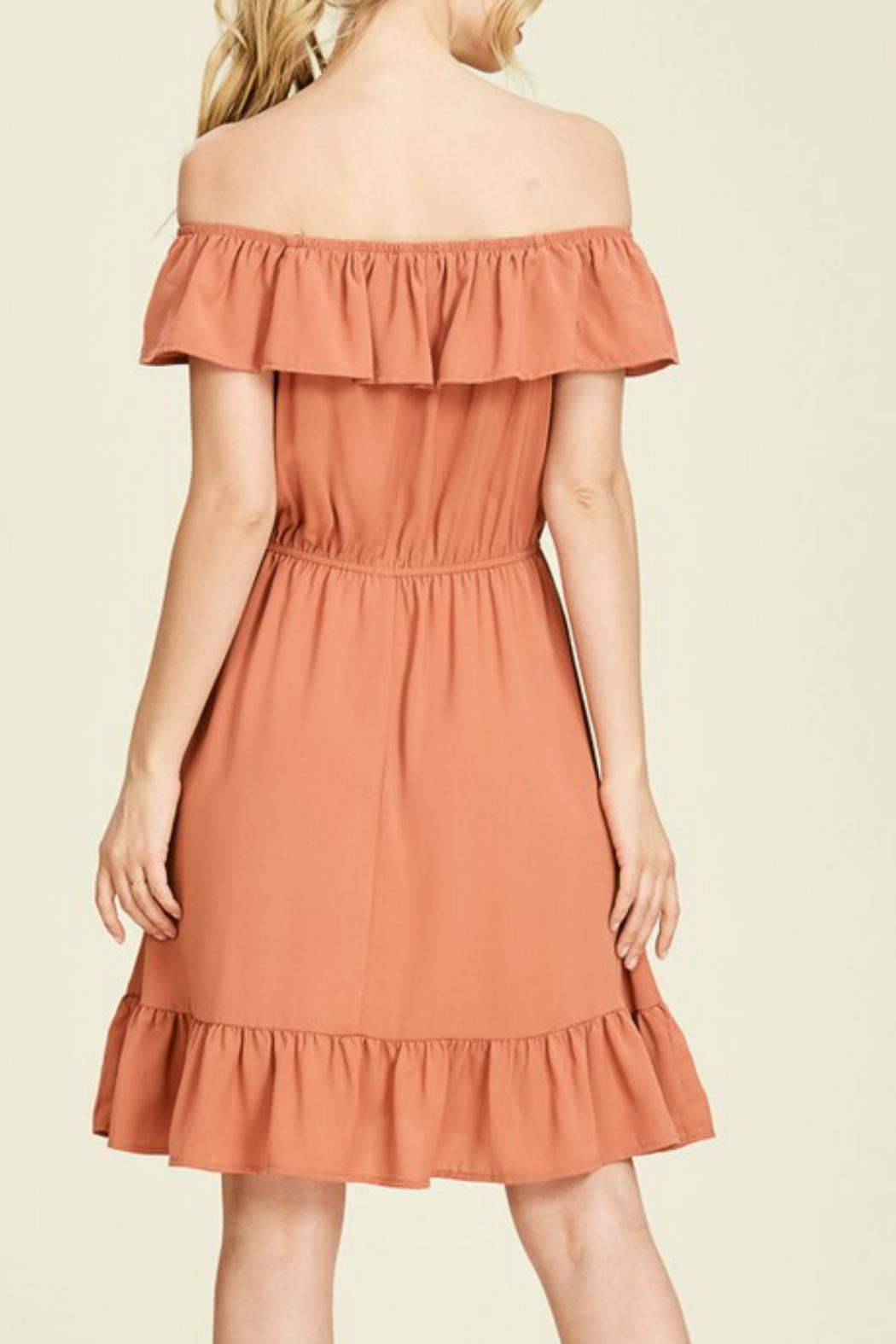 Staccato Rust Off-The-Shoulder Dress - Side Cropped Image