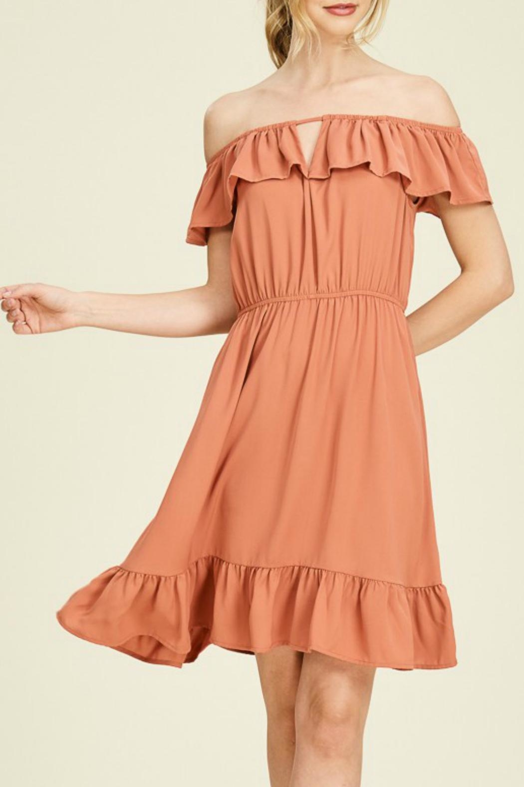 Staccato Rust Off-The-Shoulder Dress - Main Image