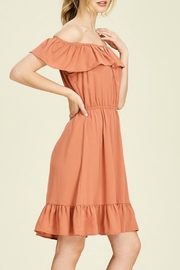 Staccato Rust Off-The-Shoulder Dress - Front full body