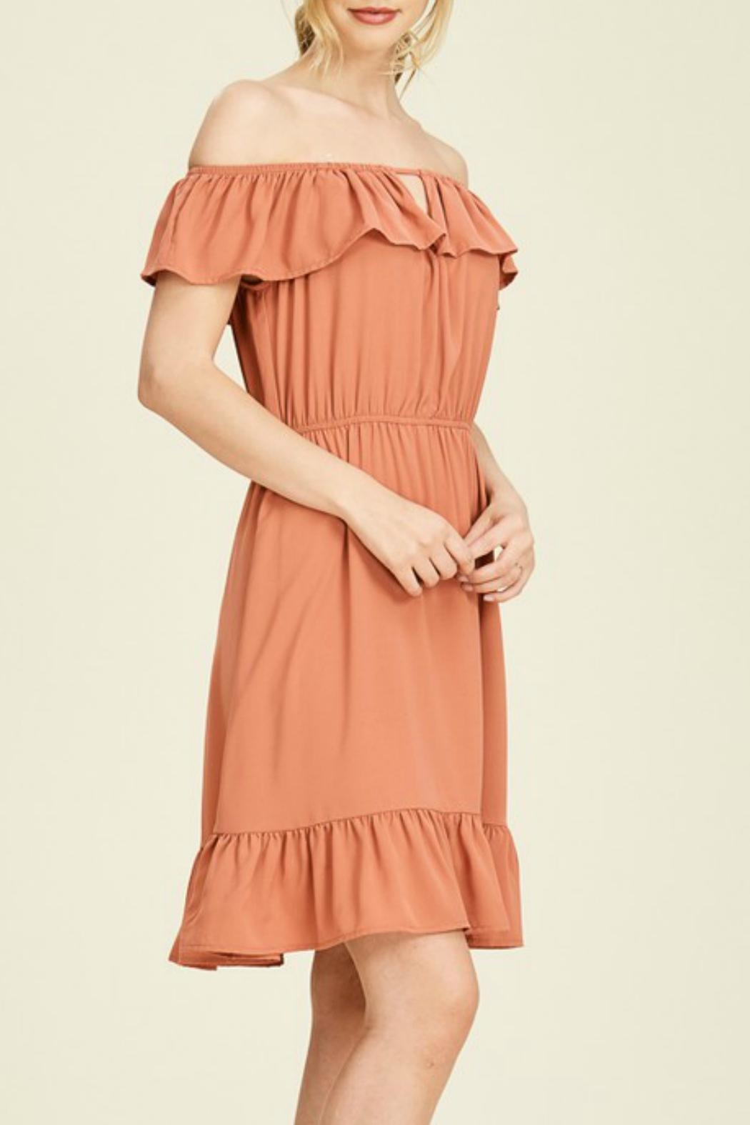Staccato Rust Off-The-Shoulder Dress - Back Cropped Image