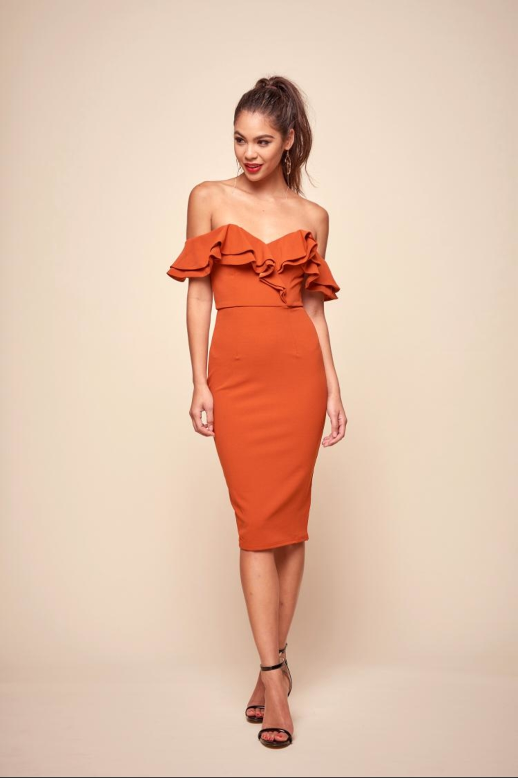 5df6a05154 Selfie Leslie Rust Ruffle Dress from Los Angeles by Chikas — Shoptiques