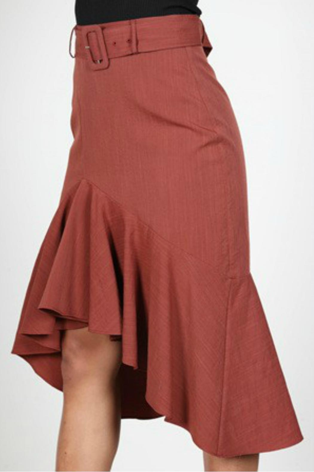 essue Rust Ruffle Skirt - Side Cropped Image