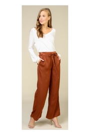 COVERSTITCHED Rust Satin Pants - Product Mini Image