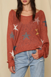 By Together  Rust Star Sweater - Front cropped