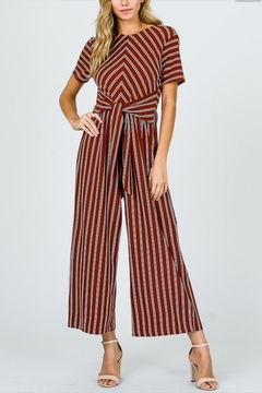 Ces Femme Rust Striped Jumpsuit - Product List Image