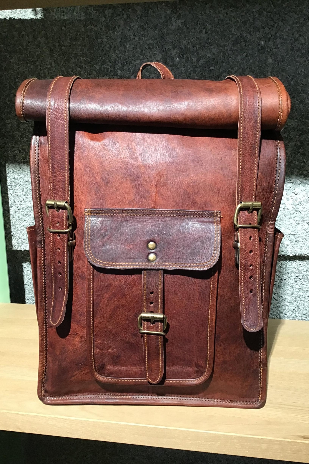 Rust Sydney  Goat Genuine Leather Rolled Top Backpack - Main Image