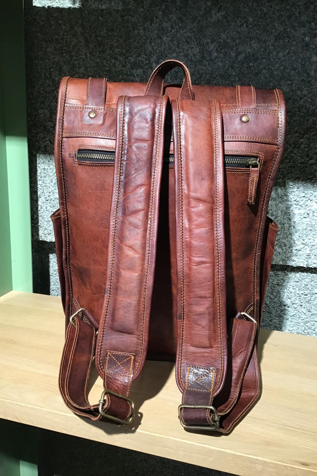 Rust Sydney  Goat Genuine Leather Rolled Top Backpack - Side Cropped Image