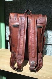 Rust Sydney  Goat Genuine Leather Rolled Top Backpack - Side cropped