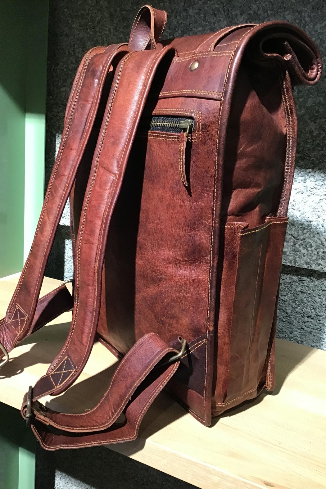 Rust Sydney  Goat Genuine Leather Rolled Top Backpack - Back Cropped Image