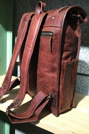 Rust Sydney  Goat Genuine Leather Rolled Top Backpack - Back cropped
